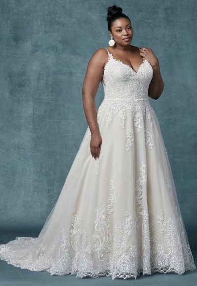 Spaghetti Strap V-neckline A-line Wedding Dress With Beaded Lace by Maggie Sottero