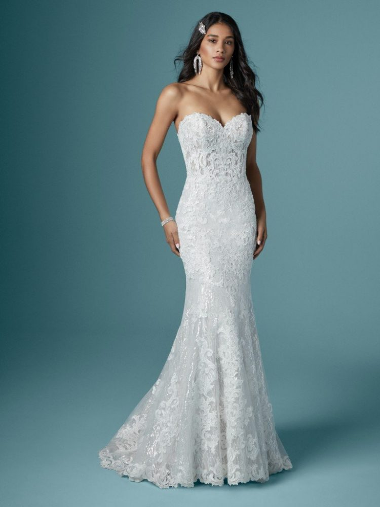 Strapless Sweetheart Neckline Sparkling Mermaid Wedding Dress by Maggie Sottero - Image 1