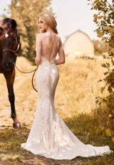 Spaghetti Strap Halter Neckline Lace Fit And Flare Wedding Dress by Mikaella - Image 2