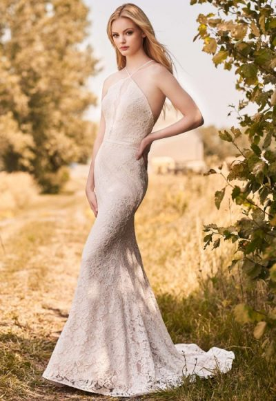 Spaghetti Strap Halter Neckline Lace Fit And Flare Wedding Dress by Mikaella