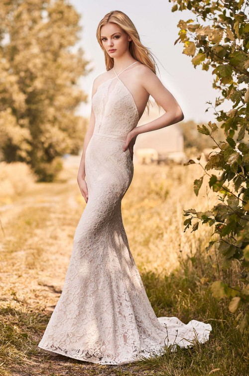 Spaghetti Strap Halter Neckline Lace Fit And Flare Wedding Dress by Mikaella - Image 1