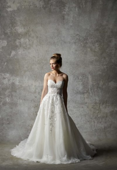Strapless Sweetheart Neckline Embroidered A-line Wedding Dress by Randy Fenoli