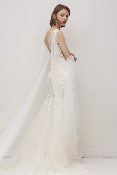 Sleeveless V-neckline Floral Lace Fit And Flare Wedding Dress by Rivini - Image 2