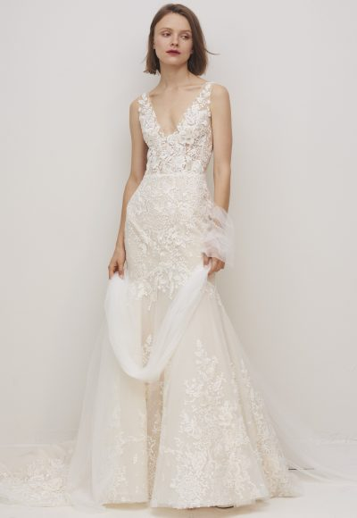 Sleeveless V-neckline Floral Lace Fit And Flare Wedding Dress by Rivini