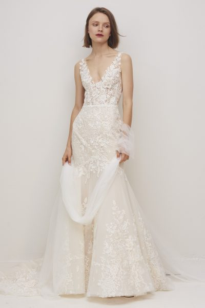 Sleeveless V-neckline Floral Lace Fit And Flare Wedding Dress by Rivini - Image 1