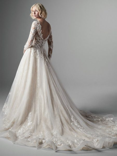Long Sleeve Lace Ball Gown Wedding Dress by Sottero and Midgley - Image 2