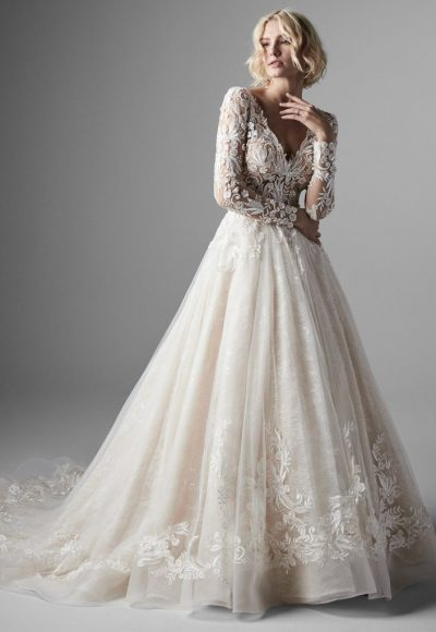 Long Sleeve Lace Ball Gown Wedding Dress by Sottero and Midgley