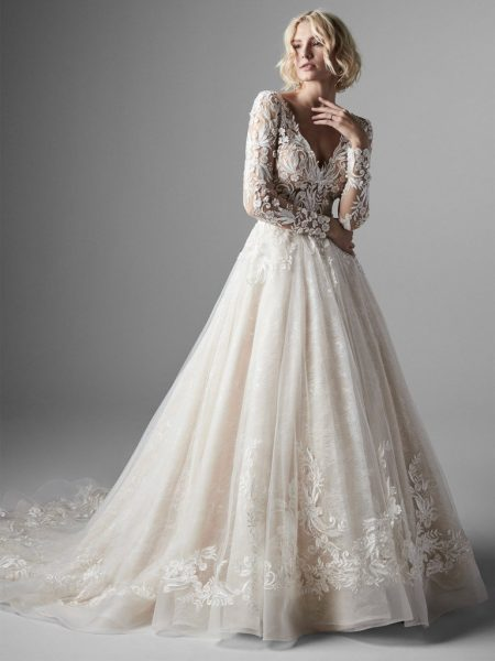 Long Sleeve Lace Ball Gown Wedding Dress by Sottero and Midgley - Image 1