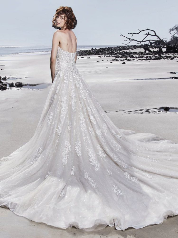 Off The Shoulder Sweetheart Neckline Lace A-line Wedding Dress With Glitter Tulle by Sottero and Midgley - Image 2