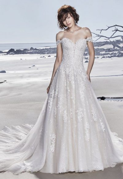 Off The Shoulder Sweetheart Neckline Lace A-line Wedding Dress With Glitter Tulle by Sottero and Midgley