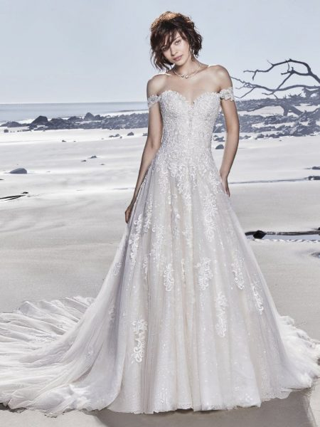 Off The Shoulder Sweetheart Neckline Lace A-line Wedding Dress With Glitter Tulle by Sottero and Midgley - Image 1