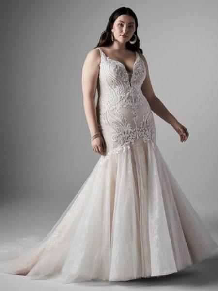Sleeveless V-neckline Lace Mermaid Wedding Dress by Sottero and Midgley - Image 1