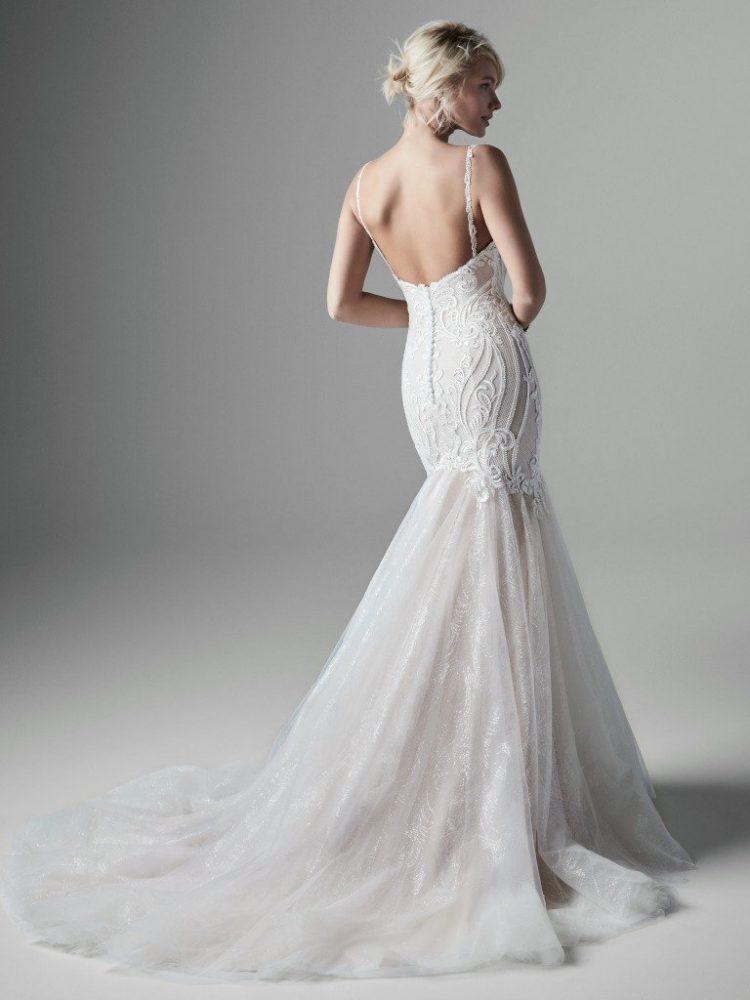 Sleeveless V-neckline Sparkle Tulle Mermaid Wedding Dress by Sottero and Midgley - Image 2