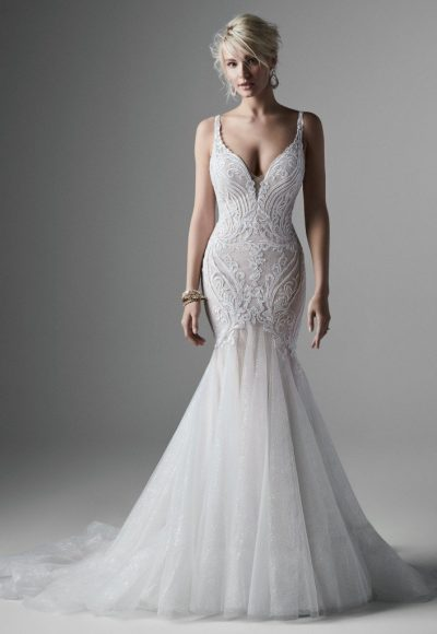 Sleeveless V-neckline Sparkle Tulle Mermaid Wedding Dress by Sottero and Midgley