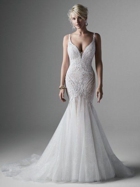 Sleeveless V-neckline Sparkle Tulle Mermaid Wedding Dress by Sottero and Midgley - Image 1