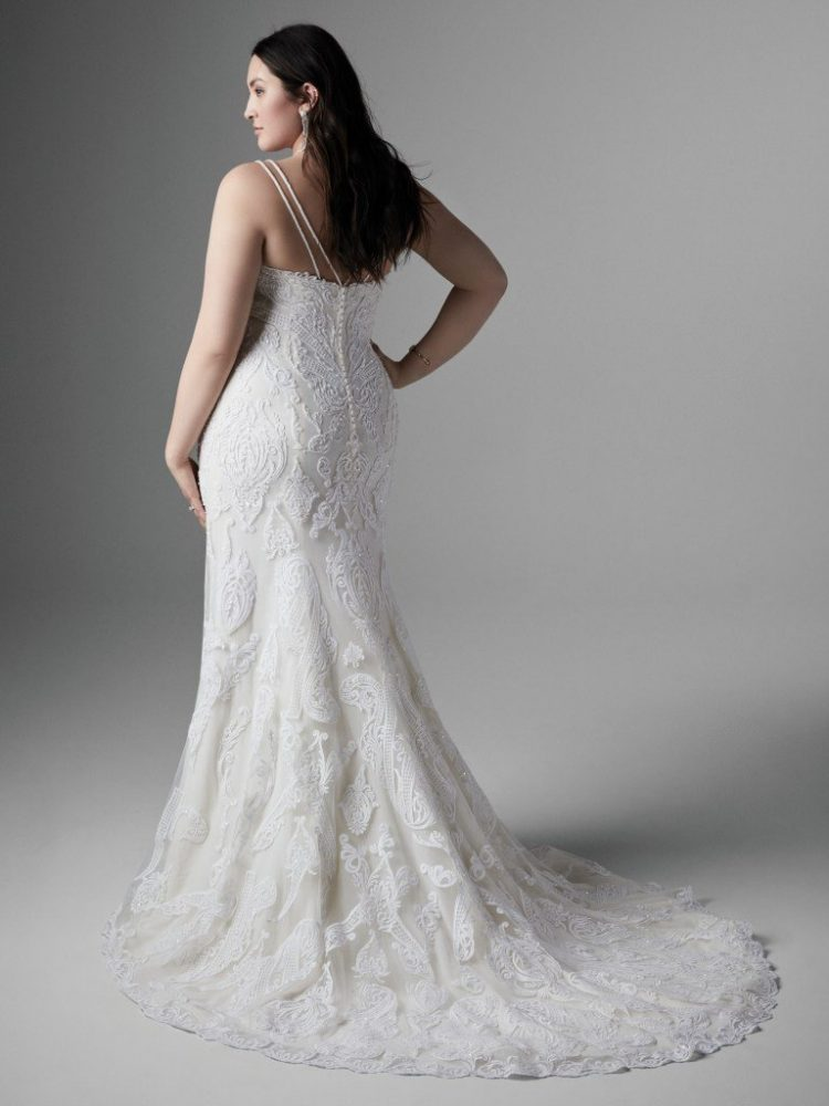 Spaghetti Strap V-neckline Lace Fit And Flare Wedding Dress by Sottero and Midgley - Image 2