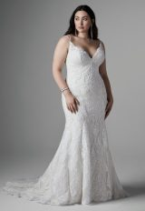 Spaghetti Strap V-neckline Lace Fit And Flare Wedding Dress by Sottero and Midgley - Image 1