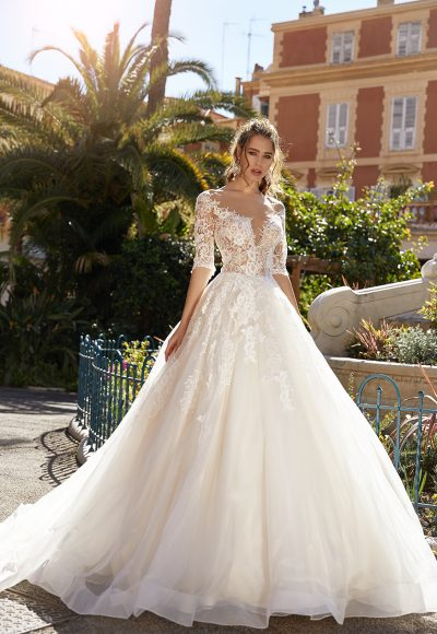 3/4 Sleeve Lace Ball Gown Wedding Dress by Vanilla Sposa