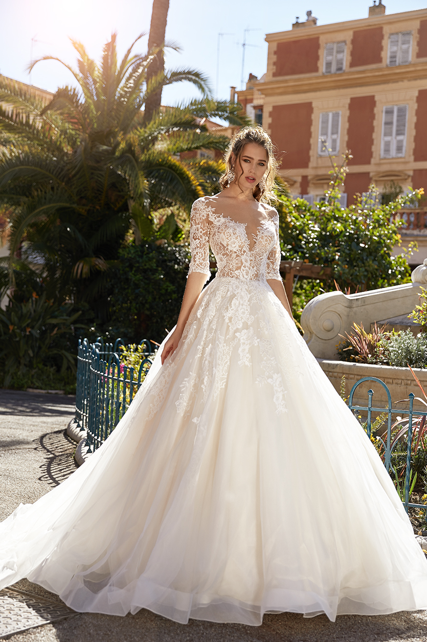 3 4 Sleeve Lace Ball Gown Wedding Dress Kleinfeld Bridal,Non Traditional Wedding Dress Colors