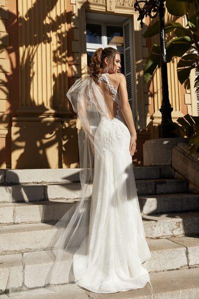 Halter Neckline Fitted Sequin Wedding Dress by Vanilla Sposa - Image 2