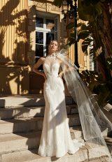 Halter Neckline Fitted Sequin Wedding Dress by Vanilla Sposa - Image 1