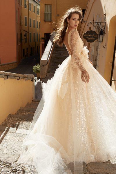 Long Sleeve V-neckline A-line Sequin Wedding Dress by Vanilla Sposa - Image 2
