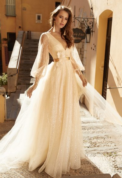 Long Sleeve V-neckline A-line Sequin Wedding Dress by Vanilla Sposa