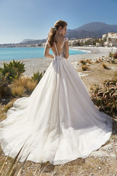 Short Sleeve Illusion Bodice Ball Gown Wedding Dress by Vanilla Sposa - Image 2