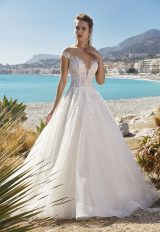 Short Sleeve Illusion Bodice Ball Gown Wedding Dress by Vanilla Sposa - Image 1