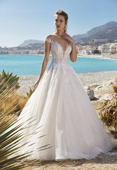 Short Sleeve Illusion Bodice Ball Gown Wedding Dress by Vanilla Sposa