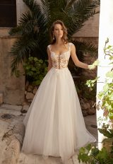 Sleeveless A-line Wedding Dress With Lace Embroidery by Vanilla Sposa - Image 1