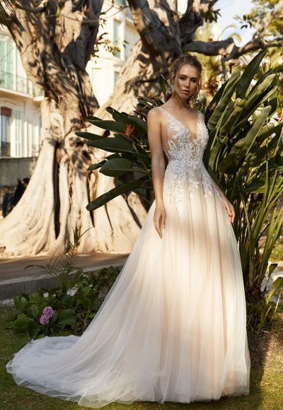 Sleeveless Deep V-neckline A-line Wedding Dress With Embroidered Lace by Vanilla Sposa
