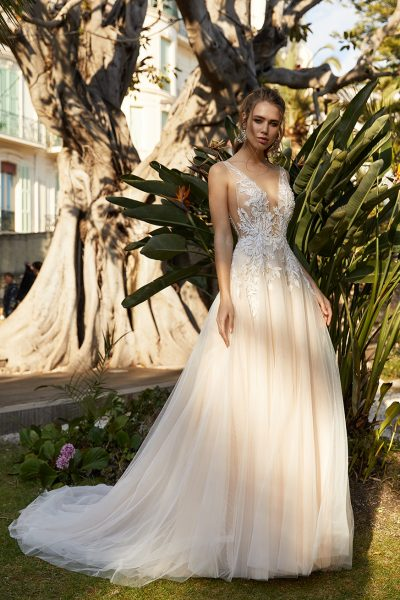 Sleeveless Deep V-neckline A-line Wedding Dress With Embroidered Lace by Vanilla Sposa - Image 1