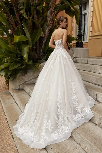 Spaghetti Strap V-neckline A-line Wedding Dress With Scattered Appliques. by Vanilla Sposa - Image 2
