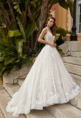 Spaghetti Strap V-neckline A-line Wedding Dress With Scattered Appliques. by Vanilla Sposa - Image 1