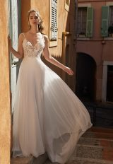 Spaghetti Strap V-neckline Sheath Wedding Dress With Beaded Bodice by Vanilla Sposa - Image 1