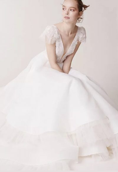Cap sleeve v-neckline tulle ball gown wedding dress by Alyne by Rita Vinieris