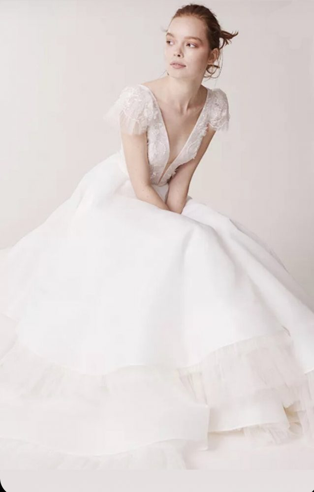 Cap sleeve v-neckline tulle ball gown wedding dress by Alyne by Rita Vinieris - Image 1