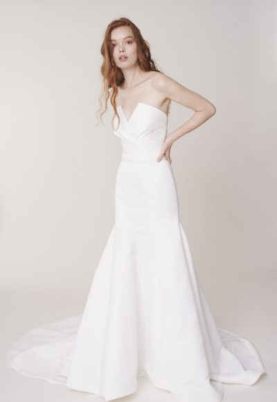 Strapless V-neckline fit and flare wedding dress by Alyne by Rita Vinieris