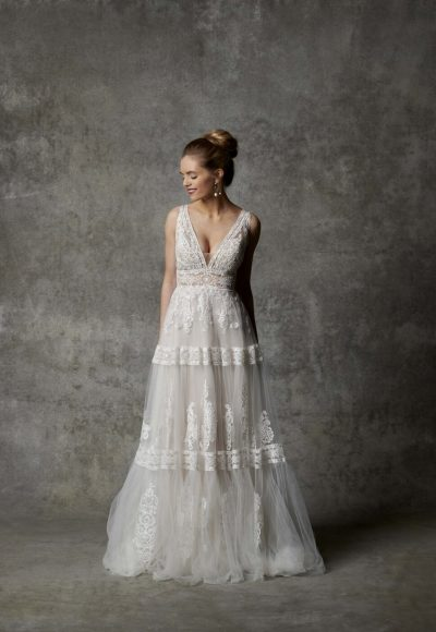 Sleeveless V-neckline A-line Wedding Dress With Lace Detailing by Randy Fenoli