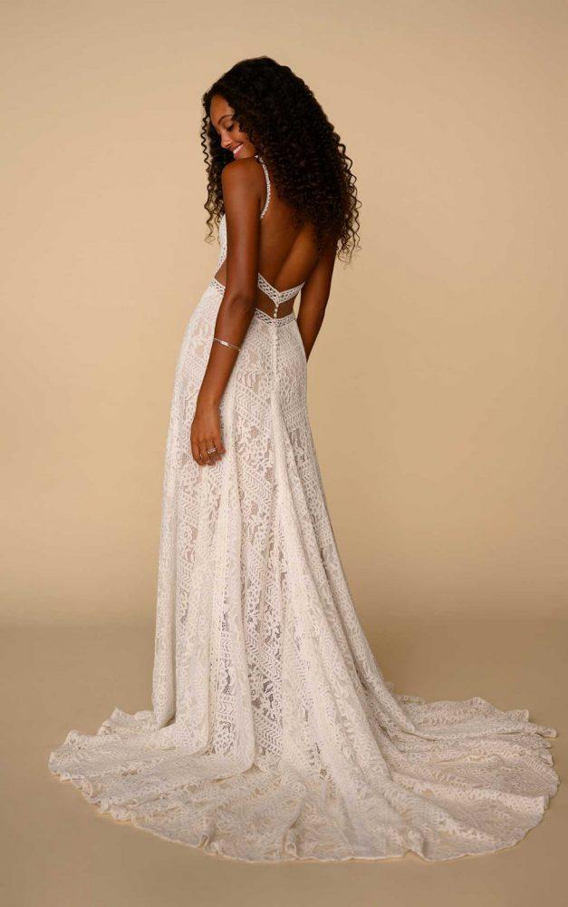 Spaghetti Strap V-neckline Lace Sheath Wedding Dress by All Who Wander - Image 2