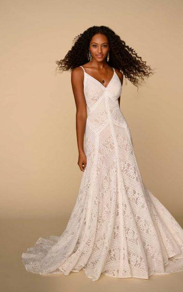 Spaghetti Strap V-neckline Lace Sheath Wedding Dress by All Who Wander - Image 1