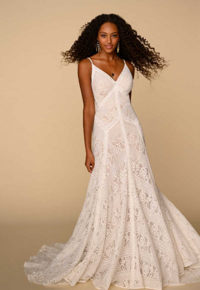 Spaghetti Strap V-neckline Lace Sheath Wedding Dress by All Who Wander