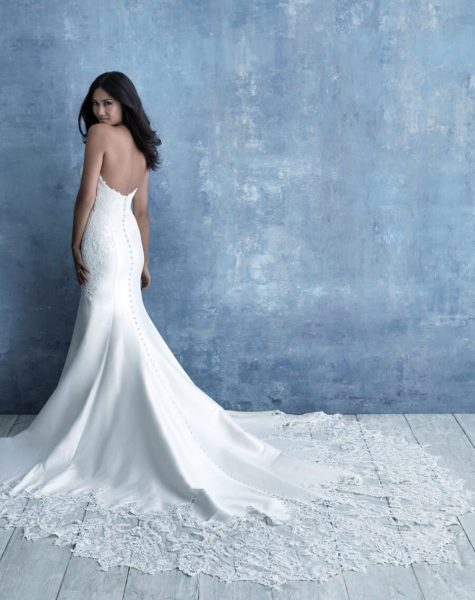 Strapless Sweetheart Neckline Fit And Flare Silk Wedding Dress With Lace Detail by Allure Bridals - Image 2
