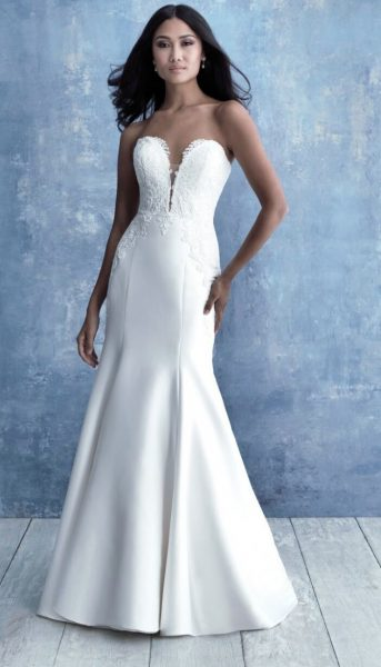 Strapless Sweetheart Neckline Fit And Flare Silk Wedding Dress With Lace Detail by Allure Bridals - Image 1