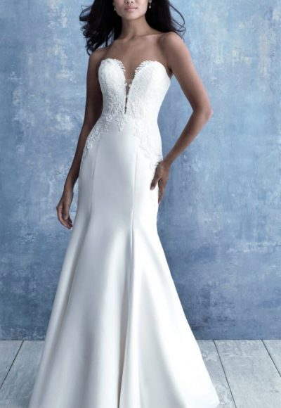 Strapless Sweetheart Neckline Fit And Flare Silk Wedding Dress With Lace Detail by Allure Bridals