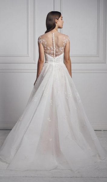 Cap Sleeve Illusion Neckline A-line Wedding Dress With Embroidered Beading by Anne Barge - Image 2