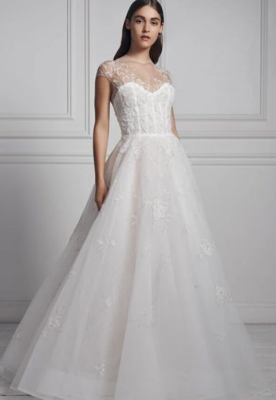 Cap Sleeve Illusion Neckline A-line Wedding Dress With Embroidered Beading by Anne Barge