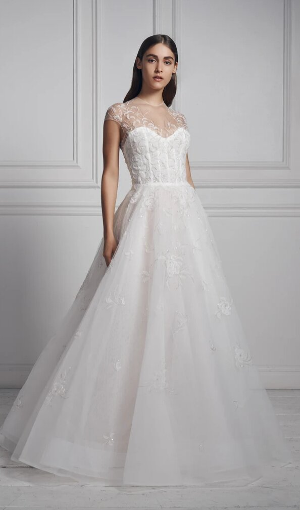 Cap Sleeve Illusion Neckline A-line Wedding Dress With Embroidered Beading by Anne Barge - Image 1