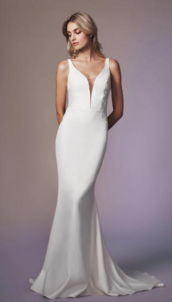 Sleeveless Sweetheart Neckline Sheath Wedding Dress by Anne Barge - Image 1